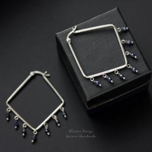 """Серебряные серьги с сапфирами """"Dark blue saphire"""""""