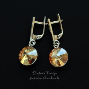 """Серебряные серьги с золотыми swarovski """"Gold shine"""""""