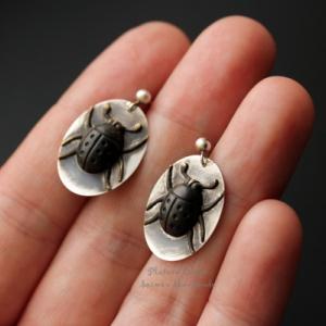 """Серьги из серебра и латуни """"The bugs"""""""