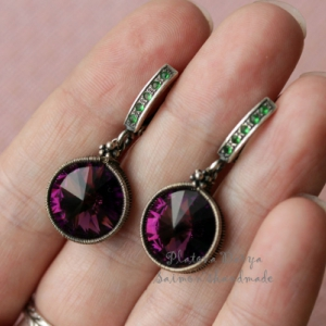 """Серьги с фиолетовыми rivoli """"Green&violet"""""""