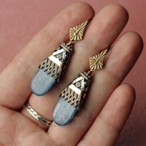 """Орнаментальные серьги c кианитами из серебра и голдфилл """"Ornament 2"""""""