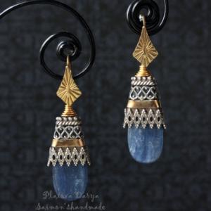 """Орнаментальные серьги c кианитами из серебра и голдфилл """"Ornament"""""""