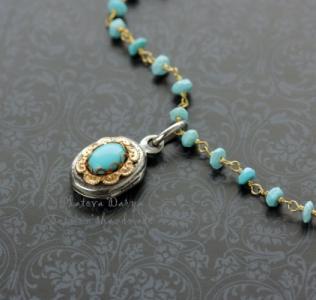 "Серебряный открывающийся кулон с бирюзой ""Turquoise flower"""