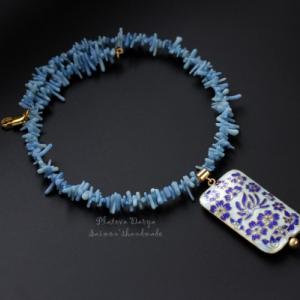 """Шейное украшение с эмалью """"Blue flowers"""""""