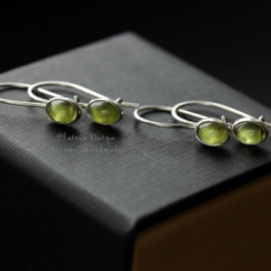 "Серьги ""Peridot green silver"""