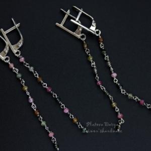 "Серьги цепочки ""Tourmaline chain silver"""