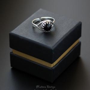 "Серебряное кольцо ""Black round"""