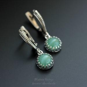 "Серебряные серьги ""Green aventurine"""