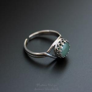 "Серебряное кольцо ""Green aventurine"""