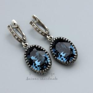 Серьги c кристаллами swarovski montana blue