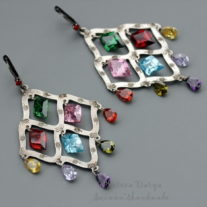 "Серьги ""Colorful rhombus silver"""