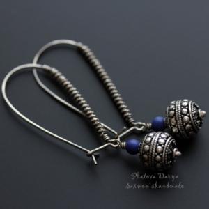 """Серьги из серебра """"The blue lazurite"""""""