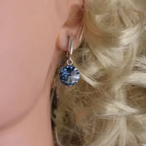 """Серьги из серебра с кристаллами swarovski """"Blue"""""""