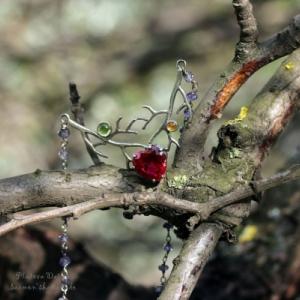 """Серебряный кулон с рубином """"Wild heart"""""""