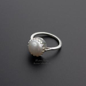 "Кольцо серебро ""Pearl lace"""