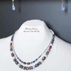"""Тонкие бусы """"Long tale"""", серебро, необработанные алмазы, камни"""