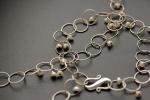 Серебряная цепь на шею и браслет с жемчугом