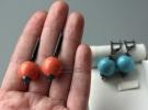 "Серебряные серьги ""Coral balls"" и ""Turquoise balls"""